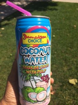 "This ""Jamaican Choice"" coconut water is slightly sweet. They've added a little sugar to make the taste more appealing to most."