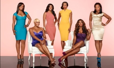 The cast of BravoTv's Real Housewives of Atlanta. These ladies never fail. Nene and Keyonce are seated and brings real entertainment to the show.
