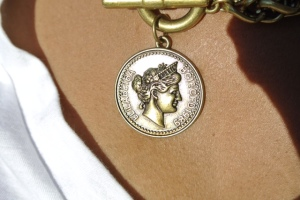 Closeup of the coin chain that I purchased at the H&M on the Champs Elysees in Paris.