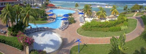 An ariel view of the pool and some of the beach property at the Holiday inn All Inclusive.