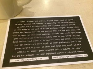 The folks at City Bakery must be hilarious because the back of their card makes me chuckle.