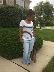 What did I wear? My Old Navy striped T, Aero distressed denim, H&M sandal along with my Gucci canvas tote.