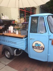 "As you walk up to Findlay Market you are greeted by the cutest Coffee Truck called ""Urbana Cafe""."