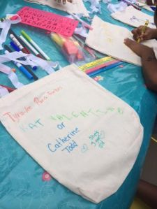 There were plenty of fabric markers on hand to design your own tote.