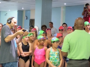 The Brooklyn Borough President, Mr. Eric Adams, came to the swim camp to congratulate us for being active.