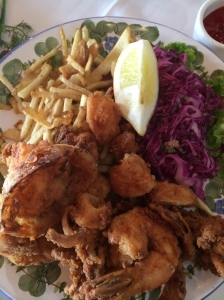 Amazing fried fish, shrimp, calamari and scallops. I couldn't ask for anything more...