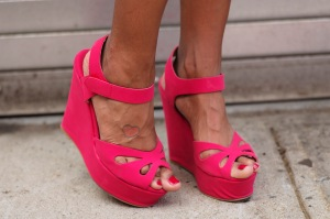 Bold color with the shoes.
