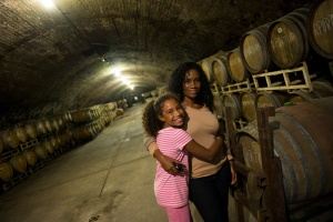 One of the tunnels where the barrels of wines are kept.
