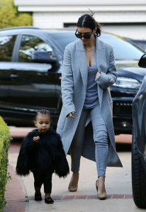 Yeah, and North showed up to dinner in her all black outfit with a faux fur cape to match. stunt on them!