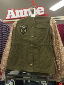 This army green jacket was a perfect combo of cute and snazzy. My daughter is a fan of sequins and these sleeves were everything for her.