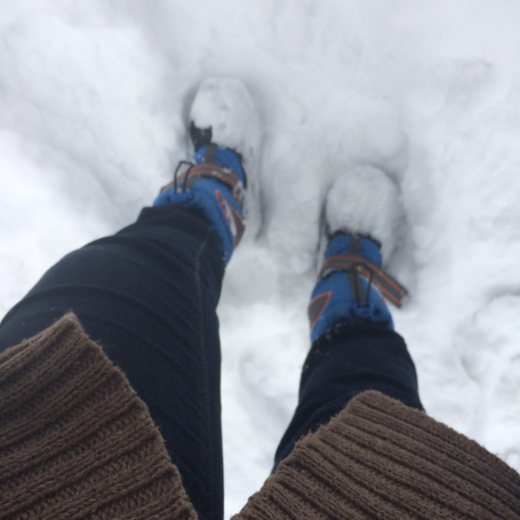 ...and yes I am wearing kid's snow boots. My daughter outgrew them but they fit me perfectly fine.