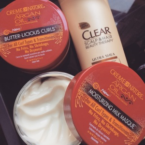 Creme of Nature Argan Oil Milk Masque and Butter-licious Curls paired with Clear Shampoo.