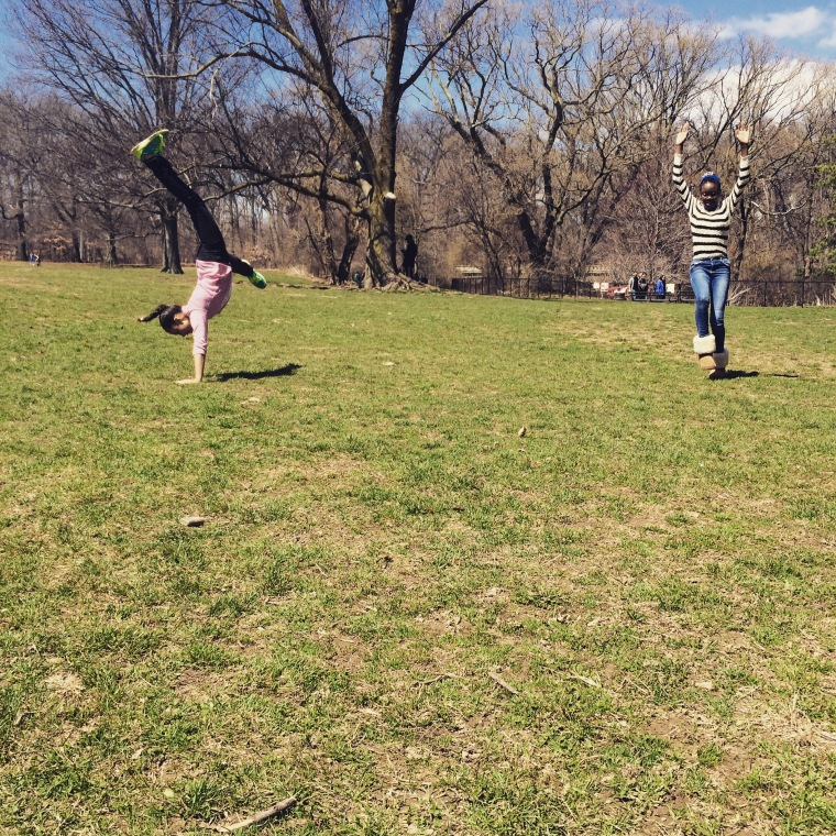 What do you do when there is endless grass and a large empty field? Cartwheels of course.