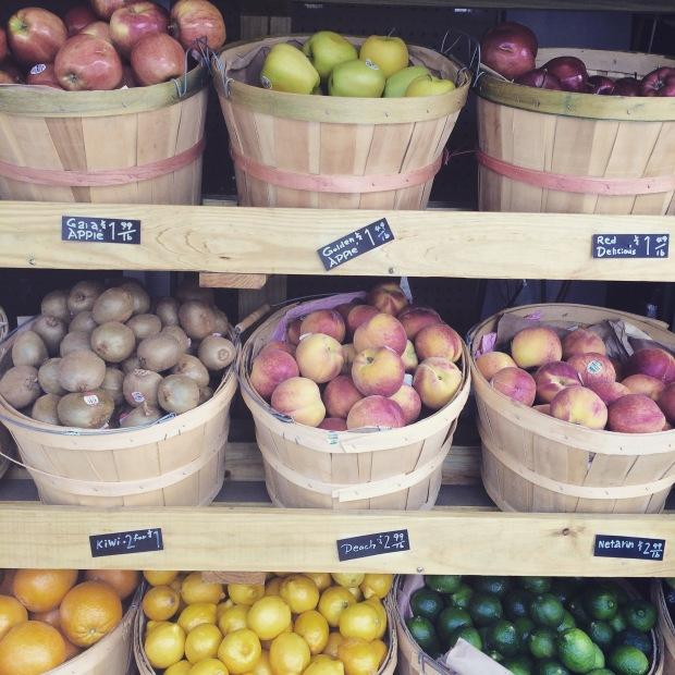 Perfect time of the year for fresh fruits. Bushels on bushels.